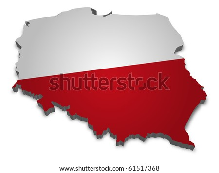 3D map of poland with flag
