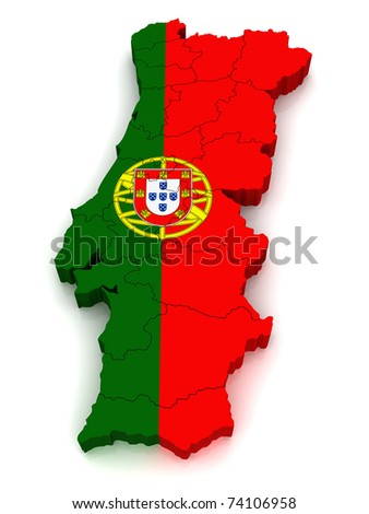 3D Map of Portugal - stock photo