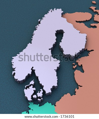 3D Map of Scandinavia