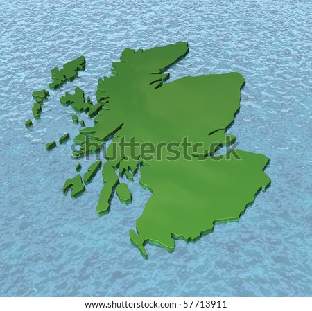 3D map of Scotland on the sea
