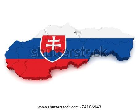 3D Map of Slovakia - stock photo