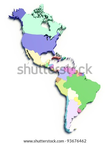 3d Map of South and North American countries on white isolated