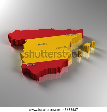 stock photo : 3D Map of Spain