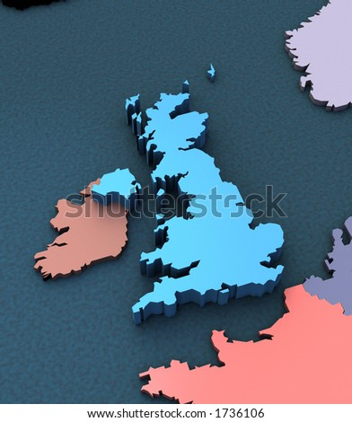 3d Map of the UK - stock photo
