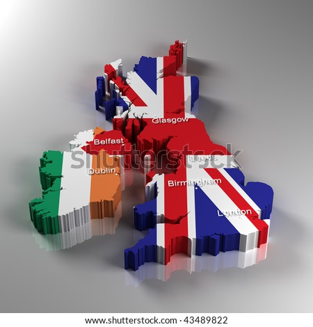 3D Map of the United Kingdom and the Republic of Ireland with the most important cities
