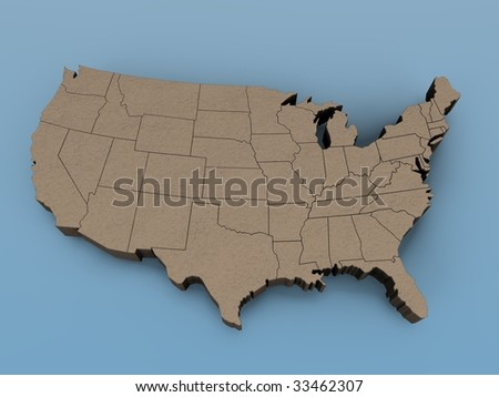 3D map of the USA on a blue background