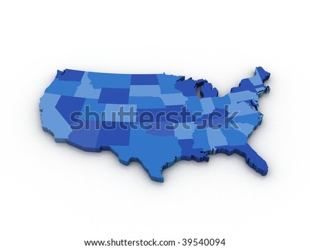 3D map of the USA on white background
