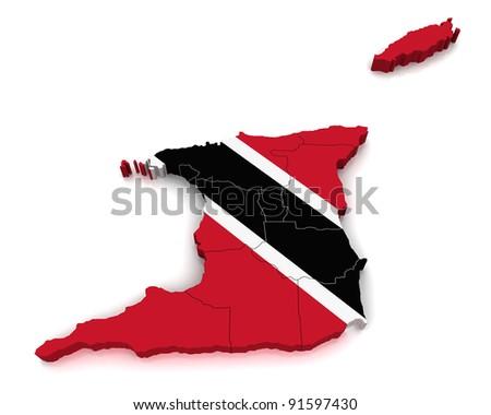 3D Map of Trinidad and Tobago