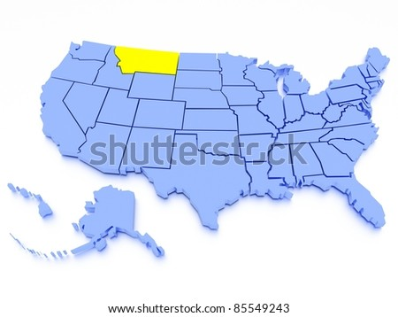 3D map of United States - State Montana