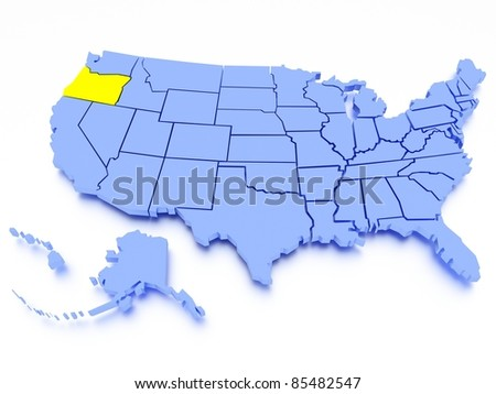 3D map of United States - State Oregon