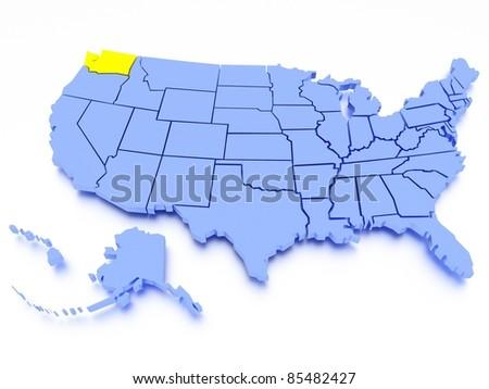3D map of United States - State Washington