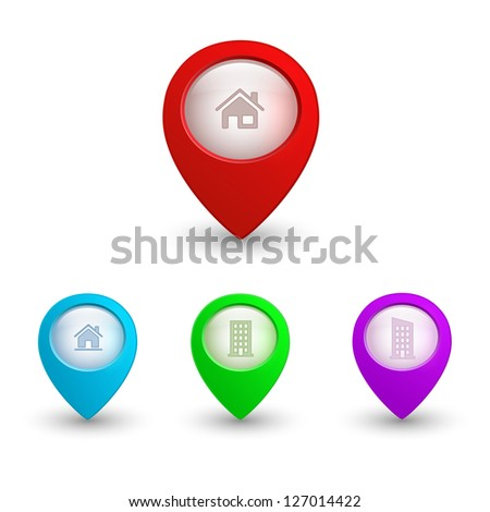 3d map pointers with house icons. web buttons set. raster version, vector file also available in gallery