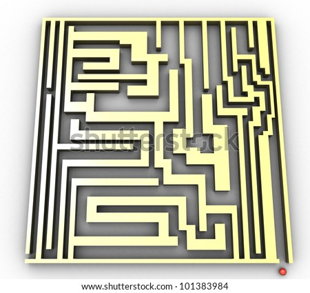 3d maze and ball on white background isolated