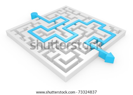 3D Maze with blue arrow on a white background