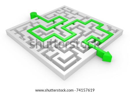 3D Maze with green arrow on a white background