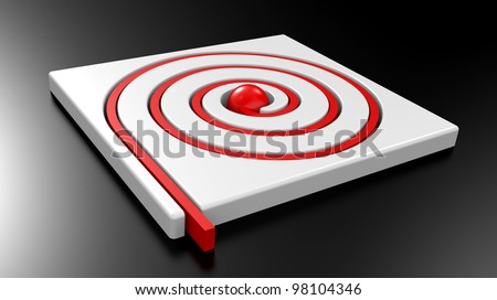 3D Maze with red line on a white background