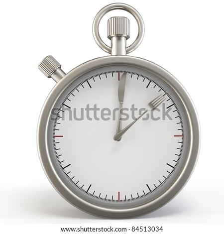 3d meal time stopwatch with knife and fork on white background