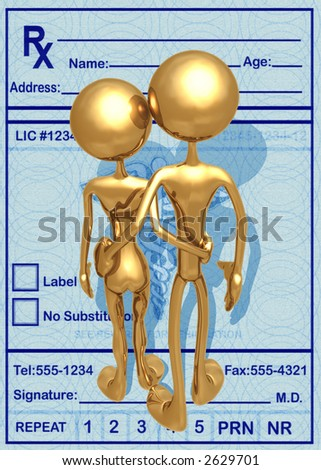 3D Medical Concept Couple Over Medicine Prescription