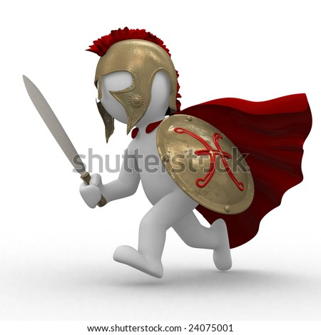 3d medieval worrior with helmet and shield