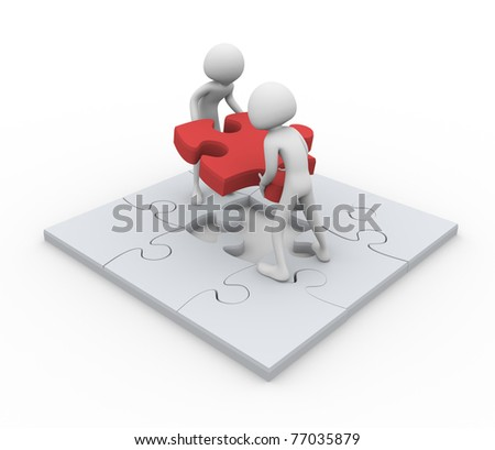 3D men assembling puzzle - Concept of team work