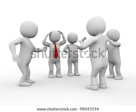 3d men discussion on white isolated background