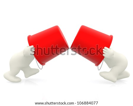 3D men fighting with buckets - isolated over a white background