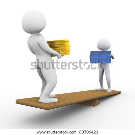 3d men holding dollar and credit card on scale