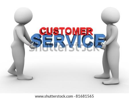 3d men holding text 'customer service'