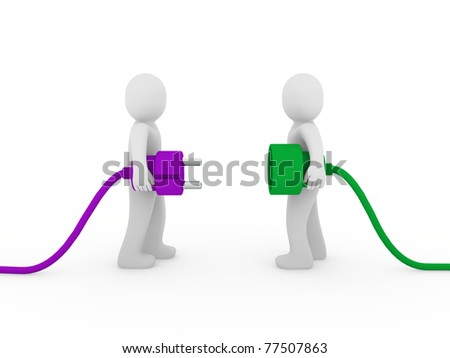 3d men human plug purple green cable energy