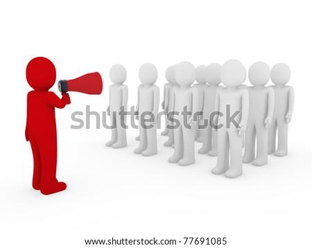 3d men man megaphone team red business scream