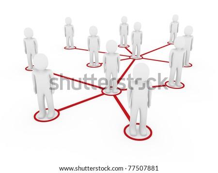 3d men network social red people connection teamwork