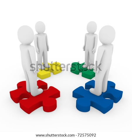 3d men puzzle teamwork red blue green yellow