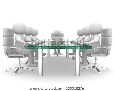 3D men sitting at a table and having business meeting - 3d render