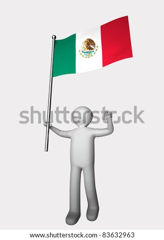 3d men with flag of Mexico.