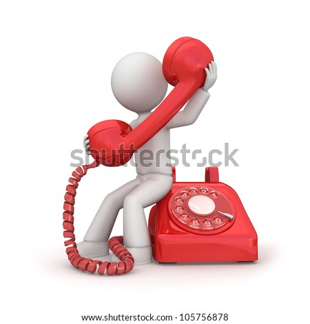 3d men with old phone. - stock photo
