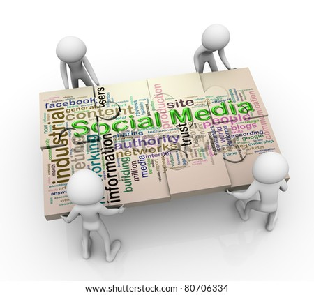 3d men working together for completing puzzle of 'social media wordcloud'