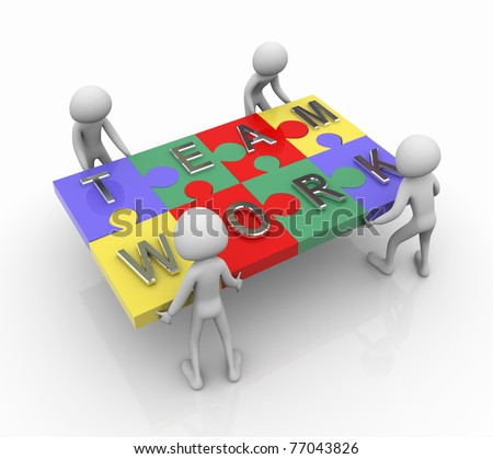 3d men working together for completing team work puzzle