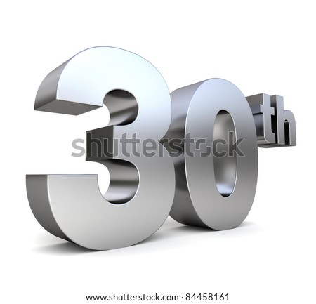 3d metal anniversary number - 30th