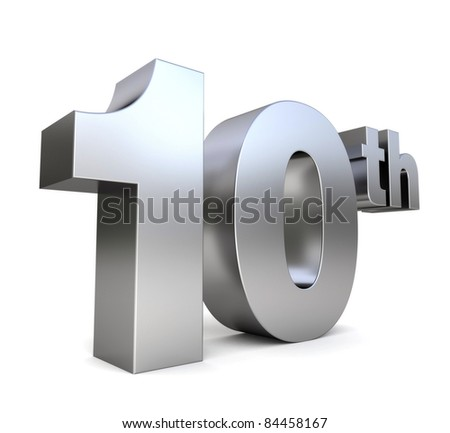3d metal anniversary number - 10th