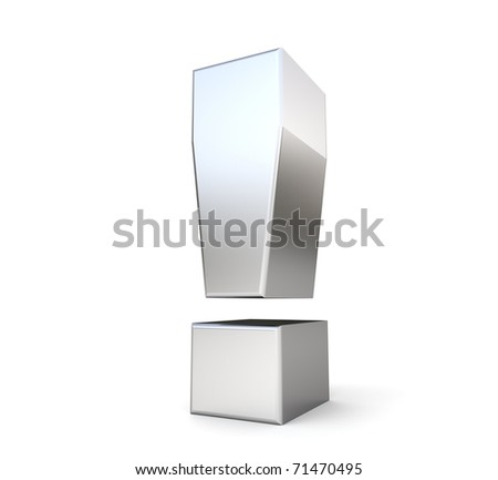 3d metal exclamation point