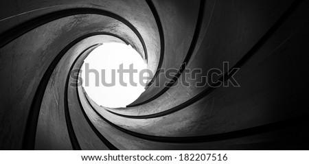 3d metal inside gun barrel twisted tube focus
