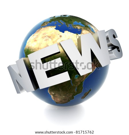3d metal logo NEWS on globe