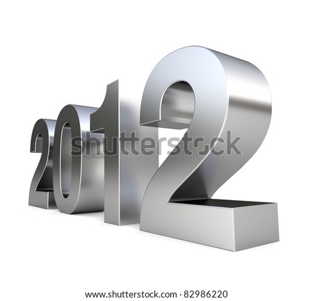 3D metal logo of new year - 2012