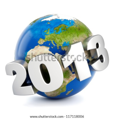 3d metal number 2013 around earth - new year concept