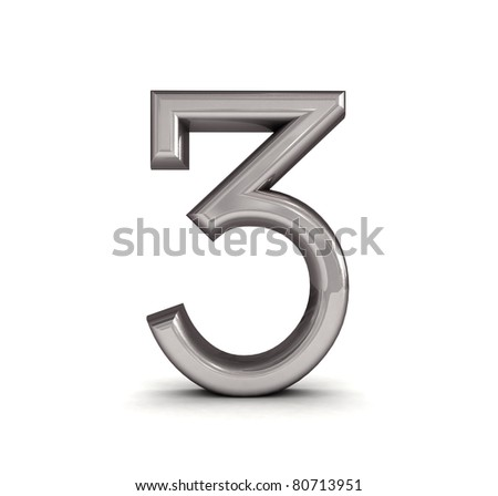 3D metal number isolated.