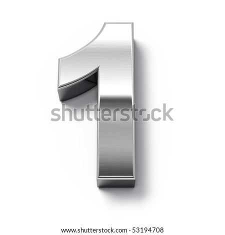 3d Metal numbers - number 1 - stock photo