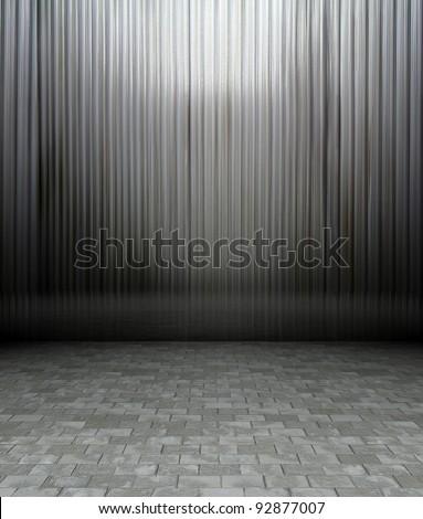 3d metal panels wall, grey texture interior