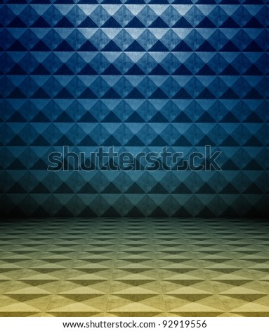 3d metal square tiles, blue texture interior