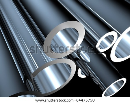 3D metal tubes - high technology background.