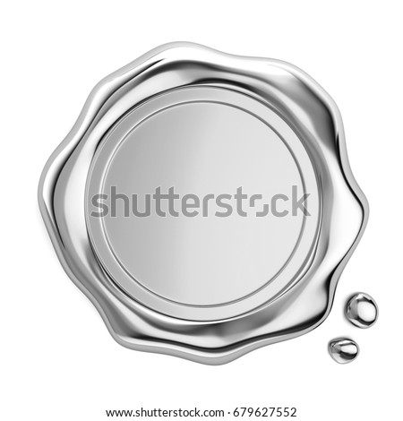 3D metal wax seal on white background.icon isolated on white background